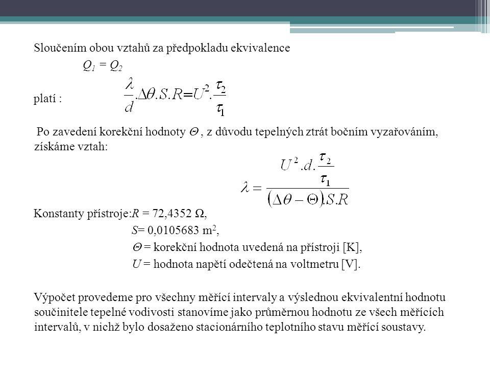 Sloučením obou vztahů za předpokladu ekvivalence Q1 = Q2 platí : Po zavedení korekční hodnoty  , z důvodu tepelných ztrát bočním vyzařováním, získáme vztah: Konstanty přístroje: R = 72,4352 Ω, S= 0,0105683 m2,  = korekční hodnota uvedená na přístroji [K], U = hodnota napětí odečtená na voltmetru [V].